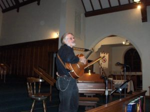 Pilgrim has hosted a variety of community concerts and events over the years. Below is a picture of Bill Bastian performing for the annual Food Shelf Benefit Concert at Pilgrim. The proceeds of this concert helped to stock local food pantries at Thanksgiving.