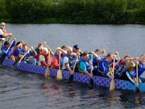 Pilgrim has participated in the local Dragon Boat Festival, an event sponsored by Essentia Health - Duluth Clinic to benefit breast cancer research.