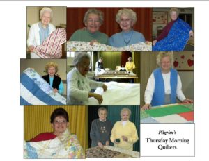 There are many charitable volunteer groups within the Pilgrim congregation. Below are various photos of our Quilters hard at work making quilts gifts for both local and global distribution. A great many hand made quilts are donated each year.