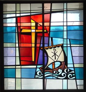 Annually in March, Pilgrim sponsors a Mariners' Sunday with a service and brunch to honor the seafarers who sail the Great Lakes.  Offerings help support the Seafarers' Ministry in Duluth.  Below is a detail of one of the many stained glass windows that adorn the church.